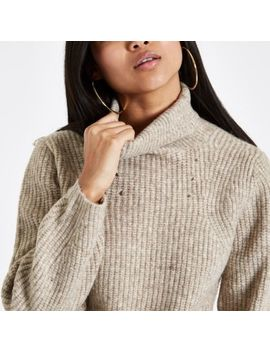 Petite Beige Roll Neck Knit Jumper by River Island