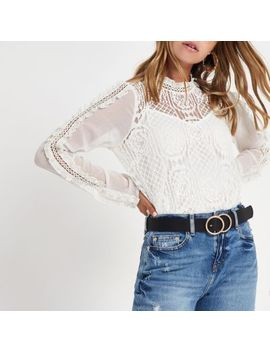 Petite Cream Lace Frill Sleeve Top by River Island