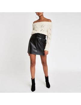 Cream Knit Stitch Embellished Bardot Jumper by River Island