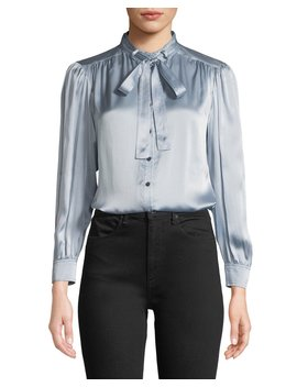 Long Sleeve Charmeuse Tie Neck Top by Rebecca Taylor