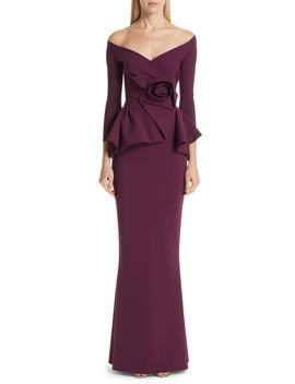 Almunda Off The Shoulder Peplum Gown by Chiara Boni La Petite Robe