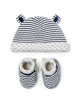 John Lewis & Partners Baby Gots Organic Cotton Hat And Booties Set, Navy by John Lewis & Partners