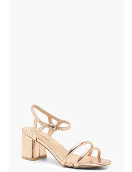 Wide Fit Metallic Double Strap 2 Part Heels by Boohoo