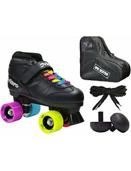 New! Epic Super Nitro Rainbow Indoor / Outdoor Quad Roller Speed Skate 4 Pc. Bundle W/ Bag & Jam Plugs (Mens 9) by Epic Skates