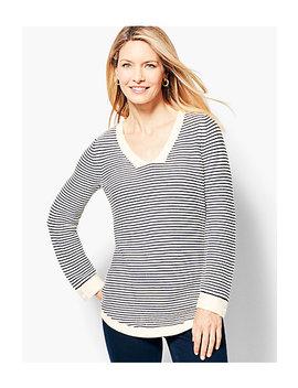 Link Stitched V Neck Sweater   Stripe by Talbots