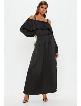 Black Ruched Front Long Sleeve Maxi Dress by Missguided