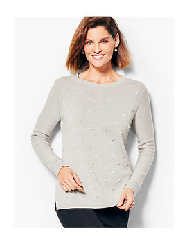 Cotton & Tencel Pearl Embellished Sweater by Talbots