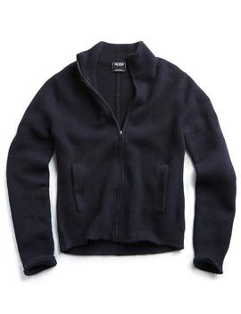 Italian Boucle Full Zip Sweater Jacket In Navy by Todd Snyder