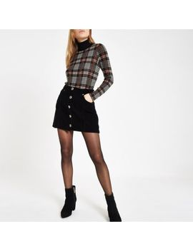 Black Cord Button Front Mini Skirt by River Island