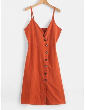 Button Up Smocked Back Cami Dress   Papaya Orange M by Zaful