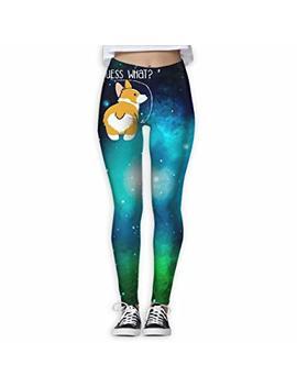 Hfueiwomen Guess What Corgi Butt Women's Yoga Pants 3 D Print Workout Leggings by Hfueiwomen