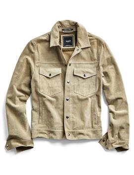 Italian Suede Snap Front Dylan Jacket In Desert Sand by Todd Snyder