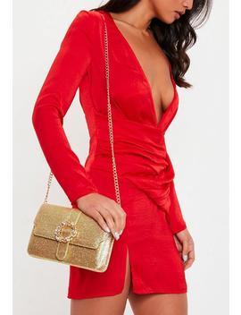 Gold Glitter Gem Clasp Clutch Bag by Missguided