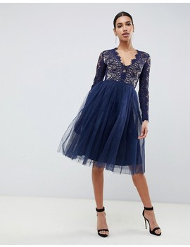 Rare London Midi Prom Dress With Scalloped Lace Detail In Navy by Rare