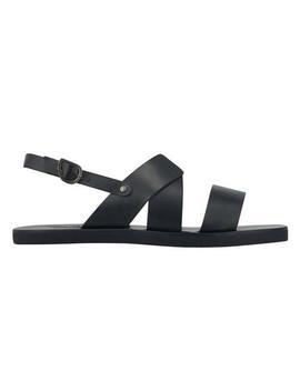 Ancient Greek Sandals Miltos Leather Beach Sandal In Black by Ancient Greek Sandals