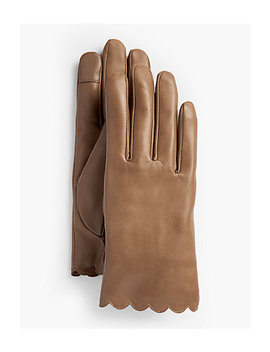 Scalloped Leather Touch Gloves by Talbots
