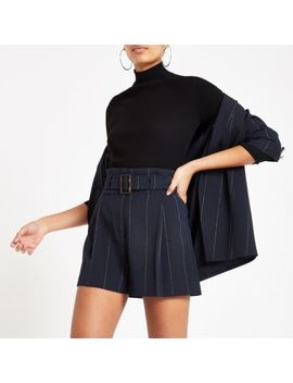 Navy Pinstripe Belted Shorts by River Island