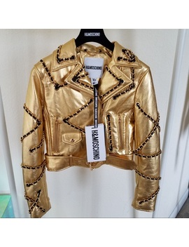H&M X Moschino Gold Leather Jacket Nwt/New by Moschino