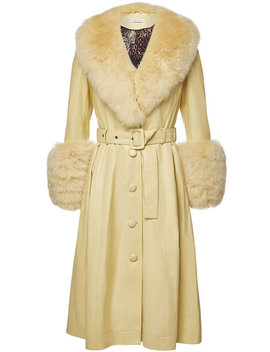 Foxy Shortbread Leather Coat With Fox Fur by Saks Potts