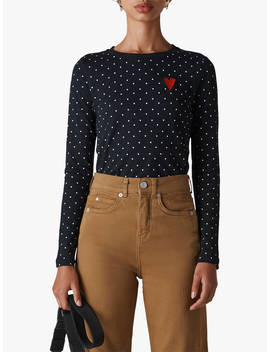Whistles Heart Embroidered Top, Navy/Multi by Whistles