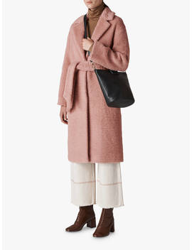 Whistles Textured Wool Belted Coat, Pink by Whistles