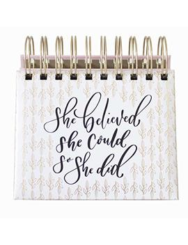 """Bloom Daily Planners Undated Perpetual Desk Easel/Inspirational Standing Flip Calendar   (5.25"""" X 5.5"""")""""She Believed She Could So She Did"""" By Writefully His by Bloom Daily Planners"""