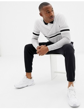 Asos Design Long Sleeve Polo Shirt With Contrast Body And Sleeve Panels In White by Asos Design