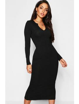 Jumbo Rib Notch Neck Midaxi Dress by Boohoo
