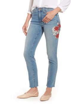 Caslon(R) Sage High Waist Embroidered Slim Straight Leg Jeans (Regular & Petite) by Caslon