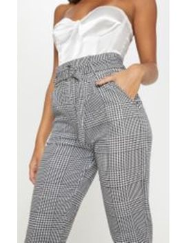 Monochrome Check D Ring Belted Cigarette Trouser  by Prettylittlething