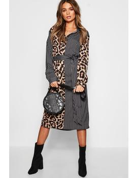 Leopard & Stripe Shirt Dress by Boohoo