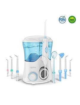Water Flosser With 8 Multifunctional Tips, Apiker Oral Irrigator Family Dental Water Jet Flosser For Teeth Braces, 10 Pressure Setting And 600ml High Capacity (Uk 2  Pin Bathroom Plug) by Apiker
