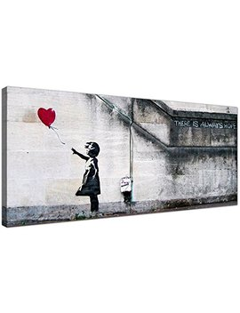 Wallfillers Large Canvas Prints Of Banksy's Girl With The Red Balloon For Your Dining Room   Graffiti Wall Art   1050 by Wallfillers