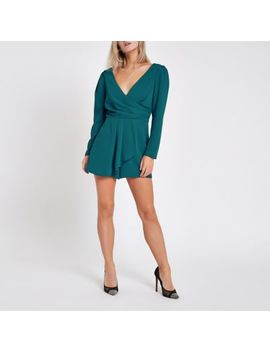 Petite Teal Wrap Front Tie Back Playsuit by River Island