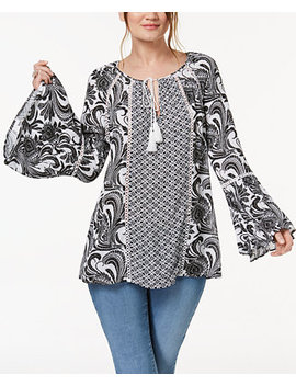 I.N.C. Printed Peasant Top, Created For Macy's by Inc International Concepts