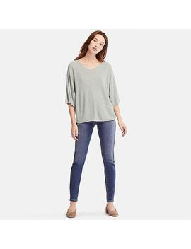 Women Ribbed Dolman V Neck 3/4 Sleeved Jumper by Uniqlo