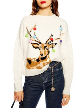 Christmas Pom Deer Sweater by Topshop