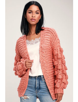 Breanna Rusty Rose Pom Pom Knit Cardigan Sweater by Lulu's