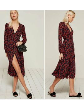 Nwot $248 Reformation Chelsea Rose Print Wrap Midi Dress Sz Xs Runs Small by Reformation