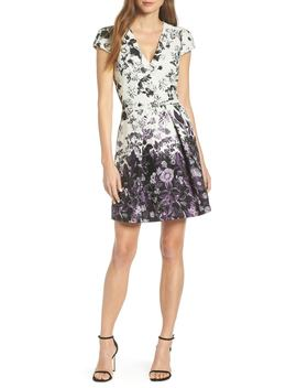 Floral Jacquard Fit And Flare Dress by Vince Camuto