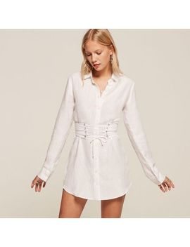 Reformation Devon Dress White Corset Xs $218 Button Up Lace Up by Reformation