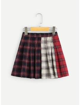 Girls Color Block Plaid Skirt by Shein
