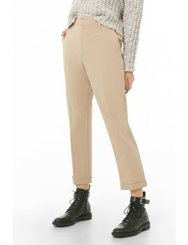 Tapered Cuffed Ankle Trousers by Forever 21