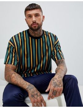 Asos Design – Bunt Gestreiftes Oversize T Shirt by Asos