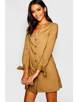 Long Sleeve Mock Horn Button Shift Dress by Boohoo
