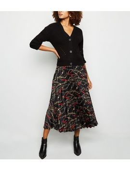 Black Chain Print Pleated Midi Skirt by New Look