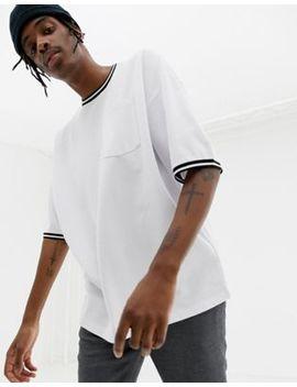 Asos Design – Langes Oversize T Shirt Mit Tasche Und Kontraststreifen by Asos