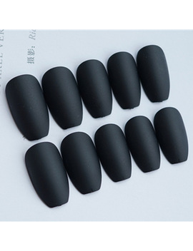 24pcs/Set Matte Black Artificial Coffin Nails Ladies Nail Art Decoration Full Cover False Nail Tips With Glue Long Fake Nails by Ali Express