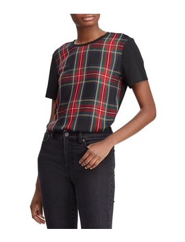 Plaid Panel T Shirt by Lauren Ralph Lauren