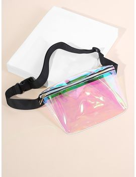 Clear Iridescent Bum Bag by Shein